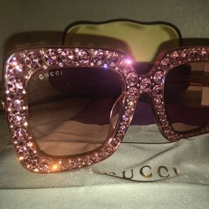 Gucci Pink Crystal Sunglasses